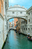Gondalas under Bridge of Sighs Venice Italy Stock Photo