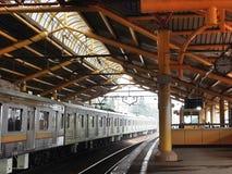 Gondangdia Station. Train passing by Gondangdia Station, Jakarta Stock Images