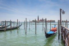 Gondel en San Giorgio Maggiore in Venetië, Italië Stock Afbeelding