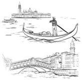 Gondelier dichtbij Lido-eiland, Rialto-Brug, Venetië Royalty-vrije Stock Afbeeldingen
