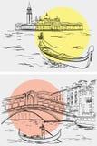 Gondelieren dichtbij Rialto-Brug, Lido-eiland, Venetië Stock Afbeeldingen
