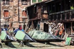 Gondelkai in Venedig Stockfoto