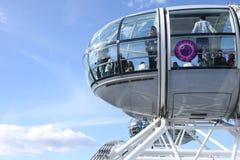 Gondeln des London-Auges Stockbild