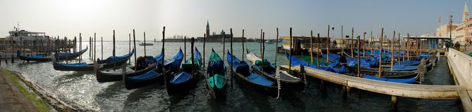 Gondeln nähern sich Marktplatz San Marco, Venezia Lizenzfreies Stockbild