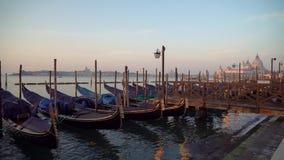 Gondeln in Venedig im Moning Auf Hintergrund San Giorgio Maggiore ist Insel sichtbar stock video