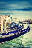 Gondels bij Piazza San Marco, Venetië Stock Foto's
