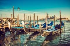 Gondels bij Piazza San Marco, Venetië Stock Afbeelding