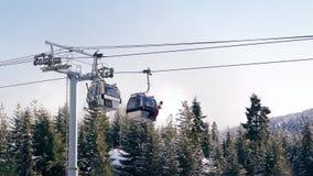 Gondels die boven Sneeuwbomen overgaan stock footage