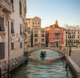 Gondels in Grand Canal in Venetië, Italië Stock Afbeelding