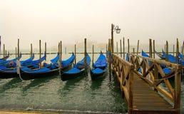 Gondels op de pijler van San Marco Stock Afbeelding