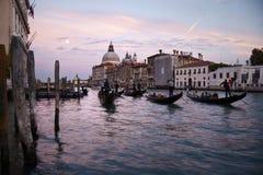 Gondels op Grand Canal van Venetië Stock Afbeeldingen