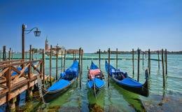 Gondels op Groot Kanaal in Venetië Royalty-vrije Stock Afbeelding