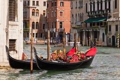 Gondels op het Grote Kanaal van Venetië Stock Foto