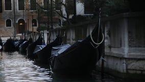 Gondels in Venetië stock video