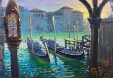 Gondels in Venetië, Italië, het schilderen Royalty-vrije Stock Foto's