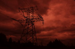 Gondelstiel der Elektrizitätszeile stockbilder
