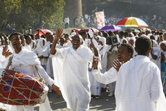 Gonder, Ethiopia, February 18 2015: People dressed in traditional attire celebrate the Timkat festival stock image