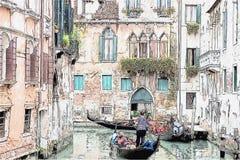 Gondol och forntida byggnader i en inre kanal, Venedig, Italien stock illustrationer