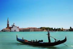 Gondol på den stora kanalen, Venedig Arkivfoto