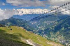 Gondola Anniviers valley. Beautiful summer view of the Grimentz Zinal gondola cable car in Switzerland, region Valais, and the Anniviers valley in the background Stock Photography