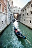 Gondola approaching the Bridge of Sighs, Venice Royalty Free Stock Photography
