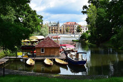 Gondola Bay in Wroclaw. With a view of  beautiful historic buildings,Poland Royalty Free Stock Images