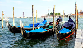 Gondola boats floating station Stock Image