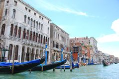 Gondola boats in grand canal at venice royalty free stock photography