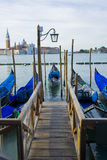 Gondola Boats on grand canal venice italy. Water scenery Stock Images