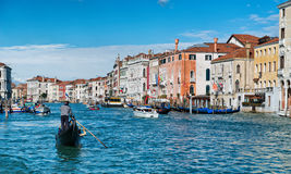 Gondola and boats in the Grand Canal, Venice Stock Photos