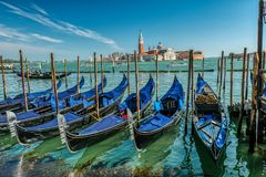 Free Gondola Boats In Venice Near Piazza San Marco, St Mark`s Square With Royalty Free Stock Photos - 145519518