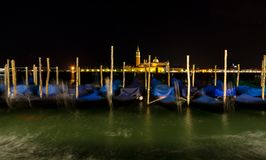 Gondola boats in Venice at night Royalty Free Stock Photography