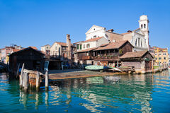 Gondola boatyard in Venice Stock Image
