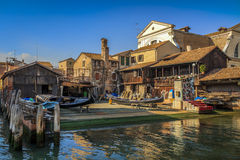 Gondola boatyard in Venice, Italy. Gondolas are built and repaired at this place Stock Image