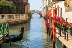 Gondola and bridge on a small canal near Saint Mark Square Royalty Free Stock Photography