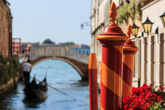 Gondola and bridge on a small canal near Saint Mark Square Stock Photos
