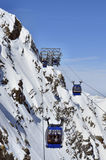 Gondola cable car in Alps. Gondola cable car to Hintertux Glacier in Zillertal Alps in Austria stock image