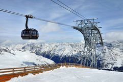 Gondola cable car. With a pole in Alps, Tirol, Austria stock photography