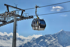 Gondola cable car. With a pole in Alps, Tirol, Austria Stock Photos