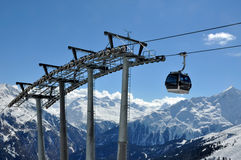 Gondola cable car. With poles in Alps, Tirol, Austria stock photo