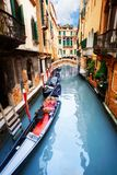 Gondola, canal and bridge Stock Photos