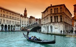 Gondola on Canal Grande stock photography