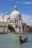 Gondola on Canal Grande with Basilica di Santa Maria della Salut Stock Image
