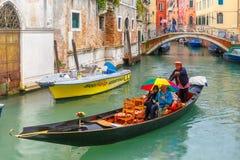 Gondola on canal in rainy day, Venice, Italy Stock Photos