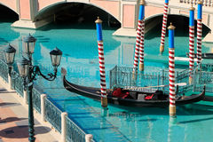 Gondola in a canal, Venetian Resort hotel and casino, Las Vegas, Royalty Free Stock Photography