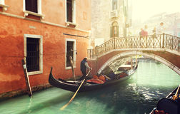 Gondola on canal in Venice Stock Photography