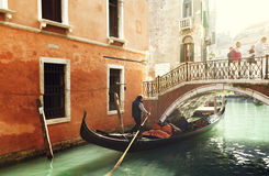 Gondola on canal in Venice Stock Photos