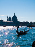 Gondola on Canale Grande. With St. Marcus in background stock photos