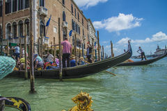 In a gondola on the canals of Venice Stock Photo
