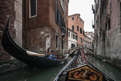Gondola on the Canals of Venice. From a Trip with a Gondola around Venice, Italy Royalty Free Stock Photo